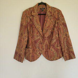 August Silk gold burgundy tapestry blazer 20W